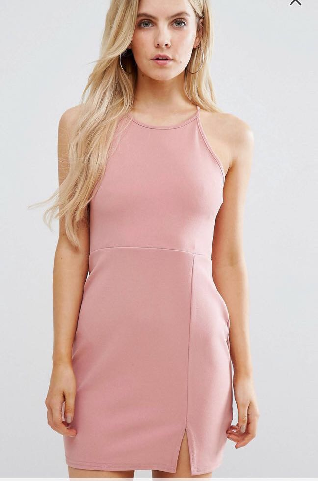 73fb1f2ad71b7 100% AUTHENTIC Missguided Petite Side Split Mini Dress in Rose ...