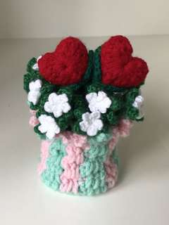 Crochet Mint green / pink basket with hearts