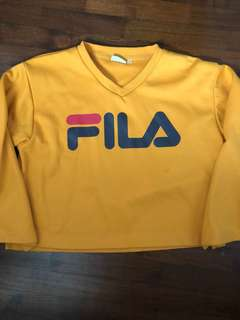Vintage Fila cropped mustard pullover