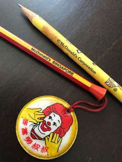 2x Vintage 1980s McDonalds Pencils from Singapore Used and New
