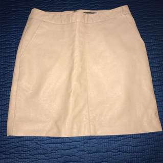 F21 Nude Faux Leather Skirt