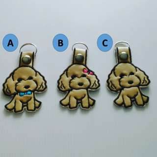 Embroidery poodle keychain