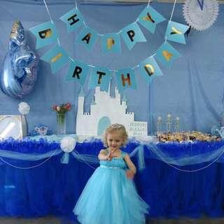 Instock - blue gold birthday banner, baby infant toddler girl boy children sweet kid happy abcdefgh so pretty