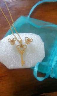 Mickey Inspired necklace and earrings set