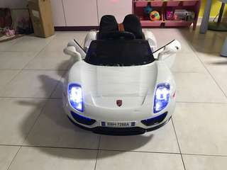 """OFFER"" BN White Porsche Kids Electric Car With Some Crack"