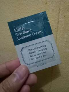KLAIRS RICH MOIST SOOTHING CREAM SAMPLE
