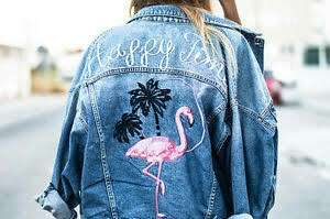 JACKET JEANS FLAMINGO ( LIGHT BLUE ) pull n bear look a like