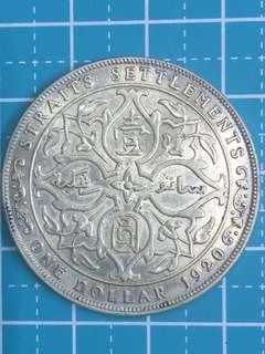 Straits Settlement KG V Silver Coin One Dollar Year 1920