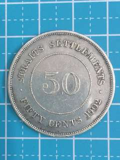 Straits Settlement KE VII 50 Cent Year 1902 Very Rare