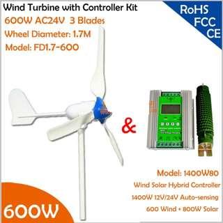 Hot selling 600W Wind Turbine Micro Home System (800W Wind Grid Tie Inverter   600W Wind Controller   AC24V 600W Wind Generator)