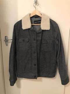 ASOS rider jacket with sherpa neck lining