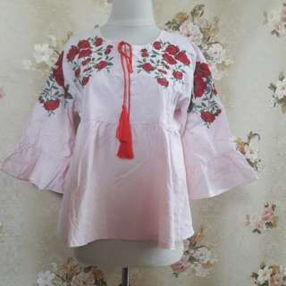 Pinky Floral Blouse Ld.96