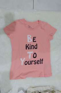 "Giordano Graphic Peach Tee ""Be Kind to Yourself"""