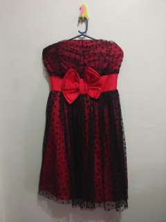 Strapless Tube Dress (Red and Black)