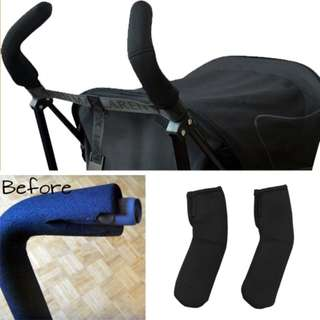 🌈(Ready Stock) 🆕Brand New In Pack Stroller Handle Covers Bumper Bar for Umbrella Type Stroller Models - Stretchable Universal Fit (Black) - Pack of 2