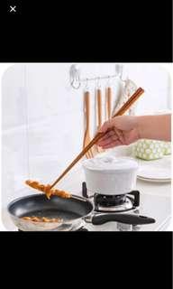 1153) 鐵木超長撈面筷子 家用日式餐具加長油炸木筷 Chopsticks