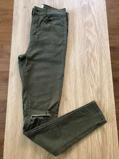GHANDA ARMY GREEN HIGH WASTED RIPPED JEANS