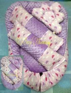 Baby Nest minky cloud pink purple