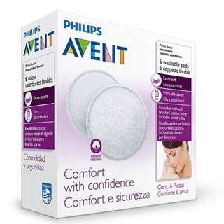 🔆(Ready Stock) 🌈Brand New In Box Philips Avent Naturally 6 Washable Breast Pads (Includes Laundry Bag)