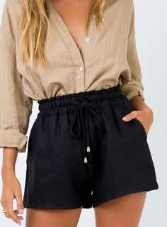 Princess Polly Black High Waisted Drawstring Shorts