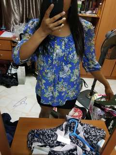 Blue and yellow floral top