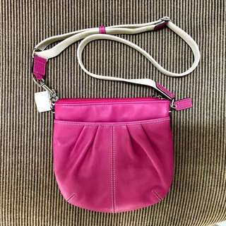 33cf2b6a11 COACH Pink Leather Pleated Swing Pack Crossbody Messenger Bag