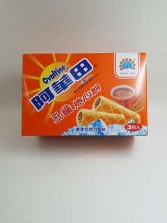 ✈大玩台灣代購✈台灣孔雀阿華田/牛奶糖口味捲心餅63g