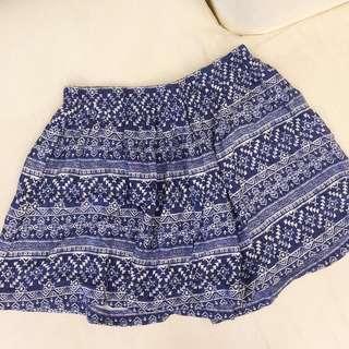 Forever 21 blue skirt  藍色民族半折裙 短裙