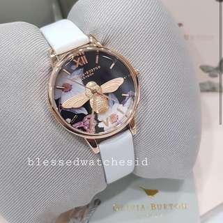 Olivia Burton 3D Bee Botanical White Leather