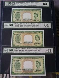 Malaya QEII 1953 $5 in 3 consec runs all graded PMG 64 choice UNC