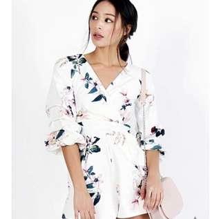 Floral V-Neck Kimono Romper