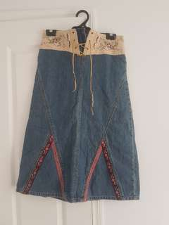 Long Denim skirt with embroidery