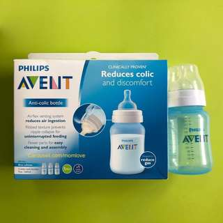 🌈 💯Ready Stock (New Packaging)🆕Brand New Philips AVENT Anti-Colic Baby Bottles Blue, 9oz/260ml (Pack of 3 bottles)