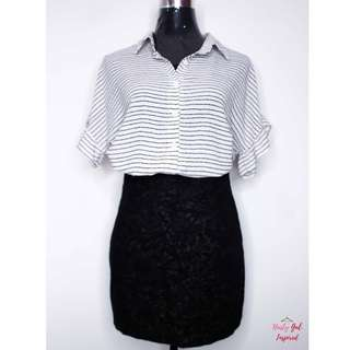 Striped ruffled Sleeve Button down