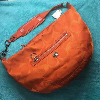 Coach Daisy Nylon Signature Hobo Orange