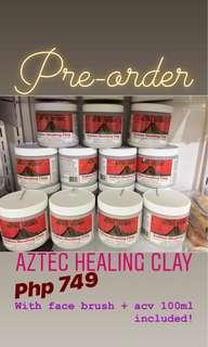 1lb Aztec healing clay+100ml apple cider+facebrush