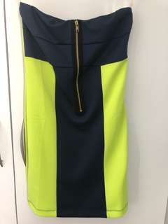 Apple Green and Navy Blue Tube Dress - Best for clubbing