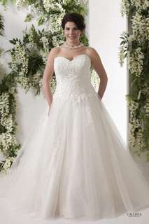 Custom made - corded lace applique tulle skirt plus size wedding dress