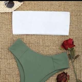 High waisted white & green bikini