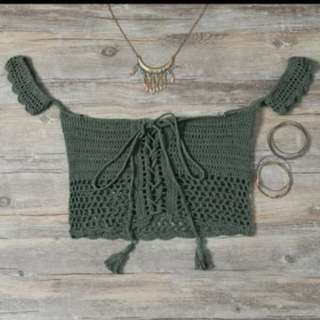 Crochet khaki green crop top
