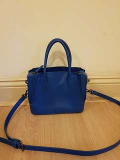 zara blue shoulder tote