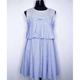 Blue Striped Pleat Dress