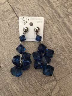 Korean style acrylic earrings in midnight blue