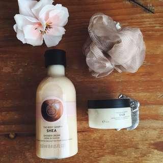 Shea shower gel body scrub and loofah