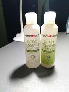 Acne defense toner and face wash