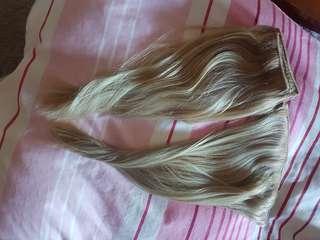 9pcs Human hair-blonde hair extensions