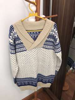 Sweater - White Blue All Size