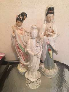 Vintage Porcelain figurines 观音 何仙姑