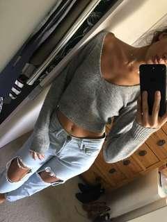 Bardot Cropped Sweater