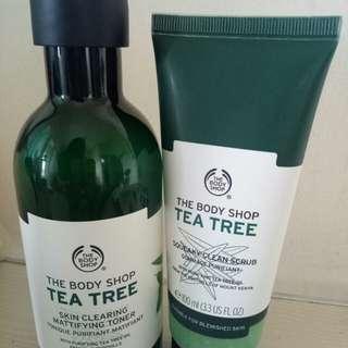 THE BODY SHOP Tea Tree Skin Clearing Mattifying Toner & Squeaky Clean Scrub